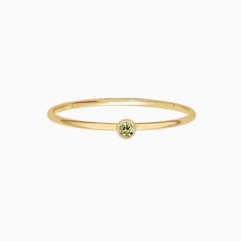 Tiny Bling Ring - Peridot Light Green CZ - 14K Gold Filled