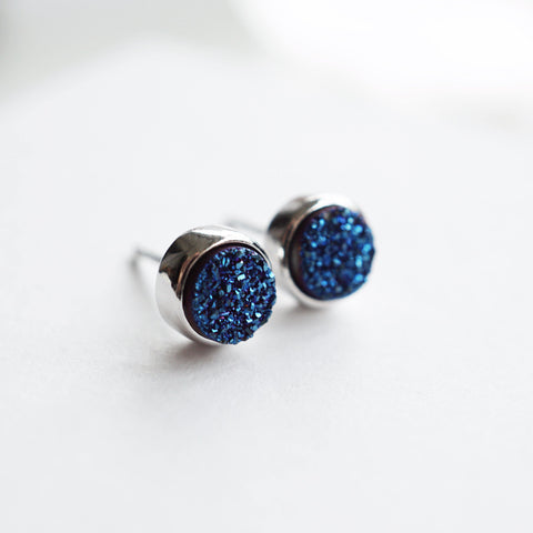 Blue Druzy Stud Earrings - 925 Sterling Silver