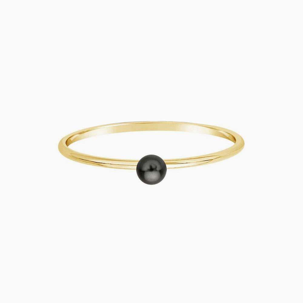 Teeny Tiny Dark Pearl Ring - 14K Gold Filled