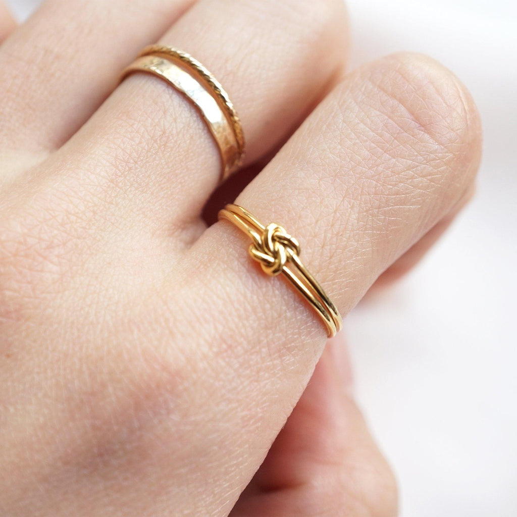 Double Wire Square Knot Ring - Studdedheartz