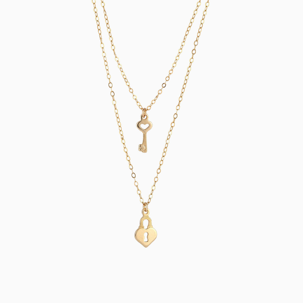 Heart Lock and Key Layered Necklace - 14K Gold Filled