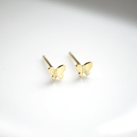 Mini Gold Butterfly Stud Earrings - 925 Sterling Silver