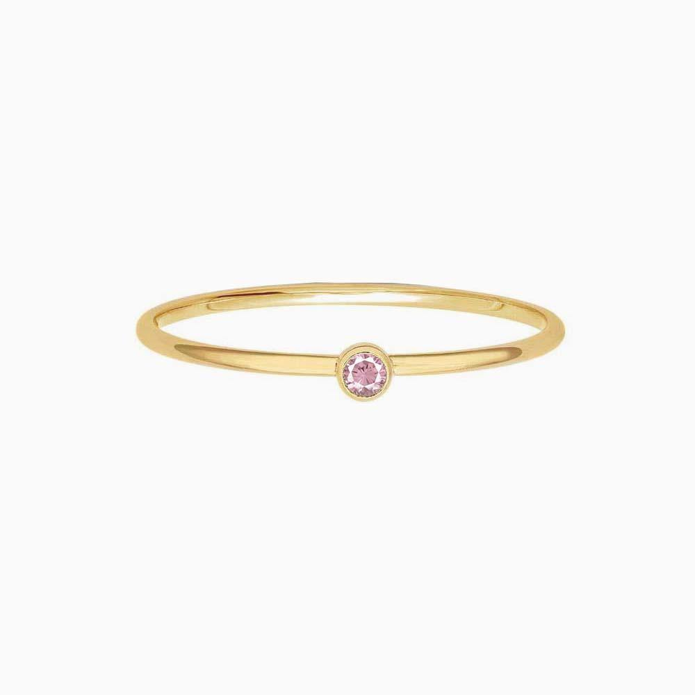 July Birthstone Ring - Light Pink CZ