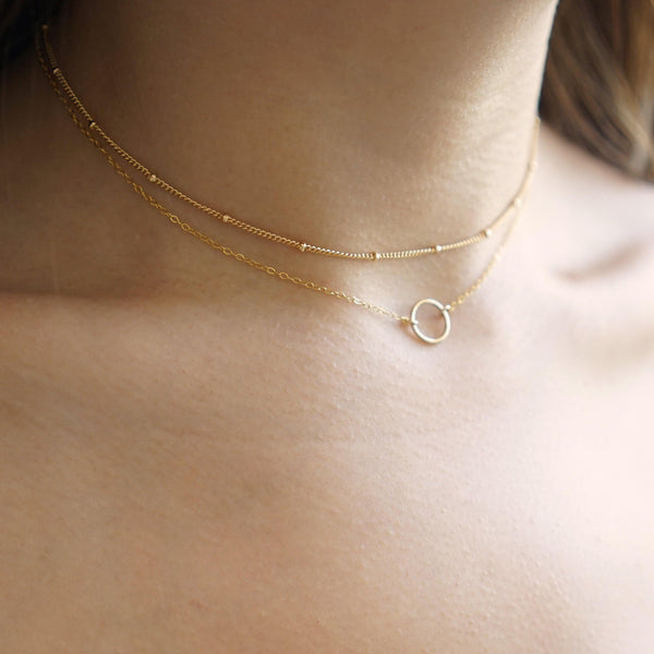 Karma 10mm Dainty Circle Necklace - 14K Gold Filled