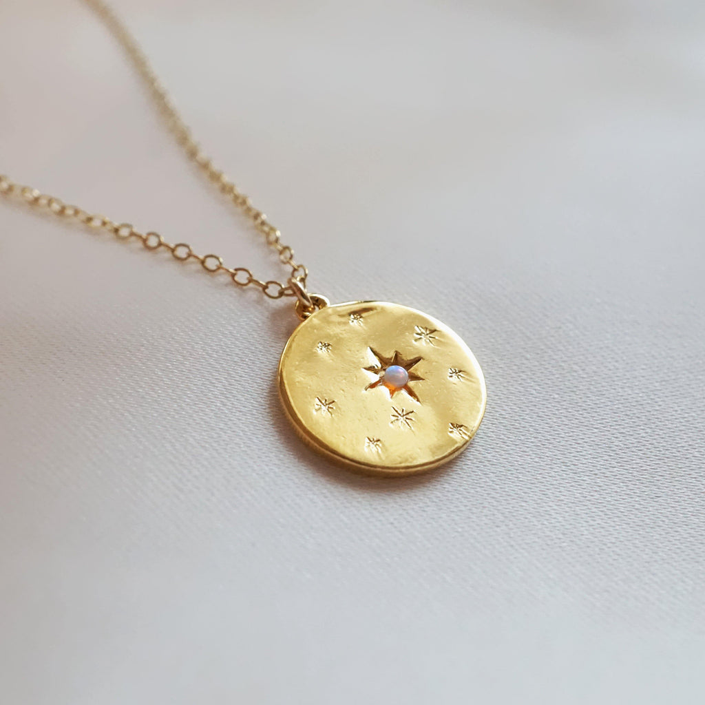 Gold Starry Night Opal Disk Necklace - Studdedheartz