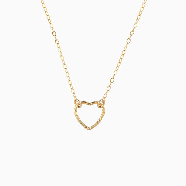 Twisted Rope Wire Heart Necklace - 14K Gold Filled