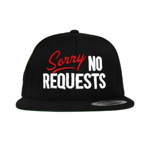 4d23c4e258a Sorry No Requests Snapback Hat (Red White)