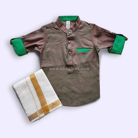 DOUBLE COLOR BOYS KURTA & MUNDU SET