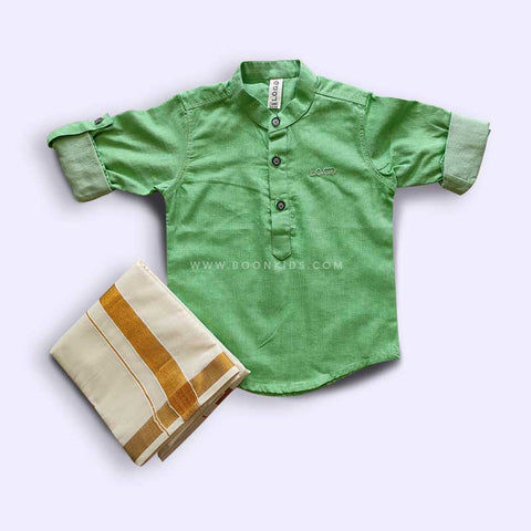 BOYS PEA GREEN KURTA & MUNDU SET