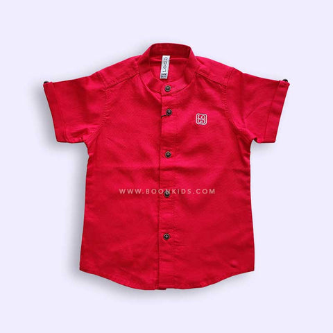 Boys Red Half Sleeves Shirt