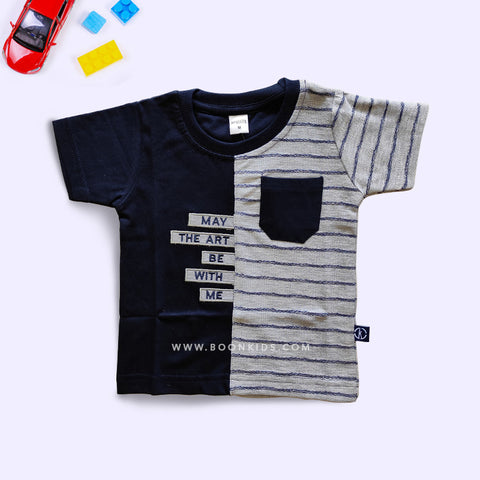Half Sleeves Boys Black T-Shirt