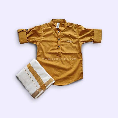 BOYS GOLDEN KURTA & MUNDU SET