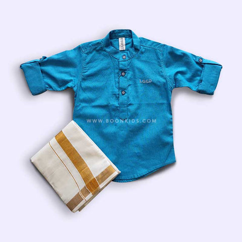 BOYS BLUE KURTA & MUNDU SET