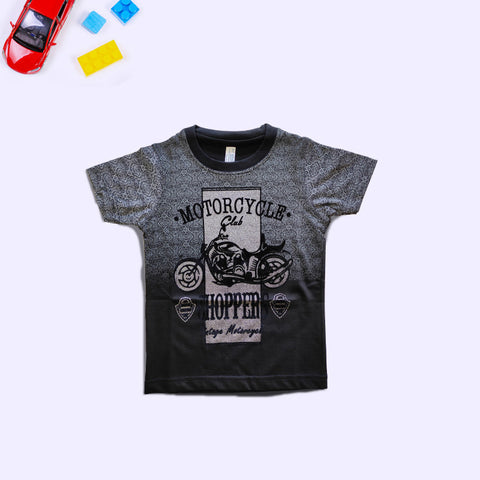 Boys Motorcycle Printed Black T-Shirt