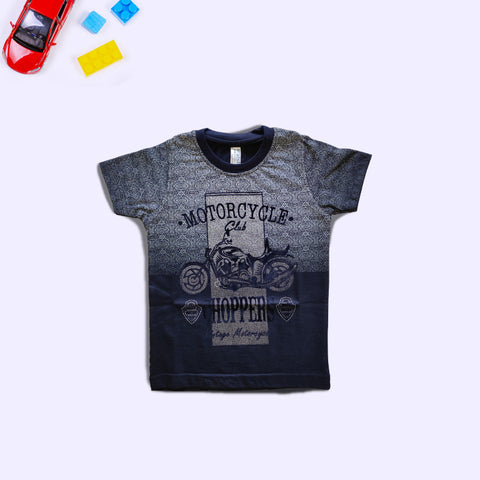 Boys Motorcycle Printed Blue T-Shirt