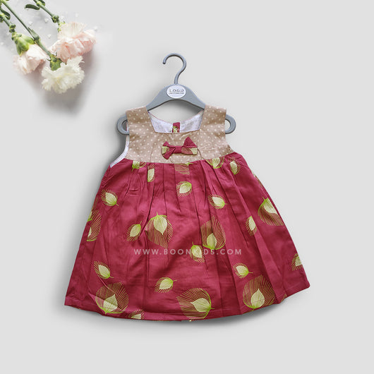 PRINTED MAROON COTTON FROCK