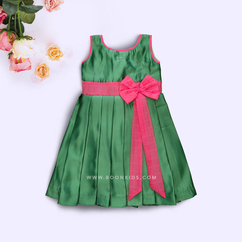 Green  Butterfly Silk Frock
