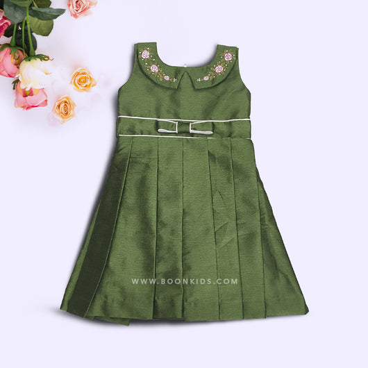 Classic Green Embroidery Frock