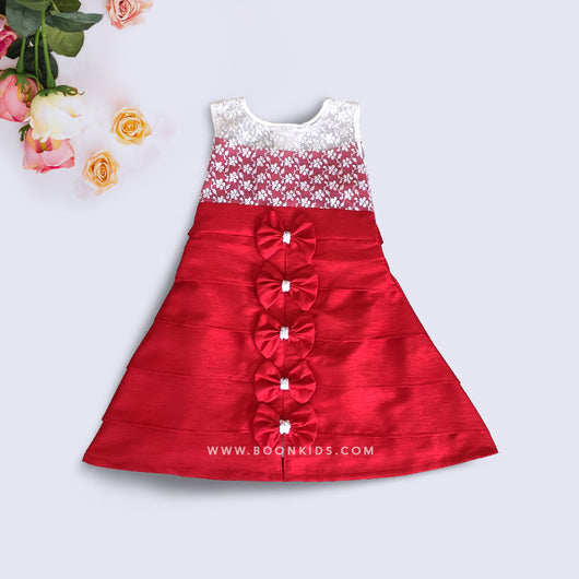 Red and White A Line Butterfly Frock