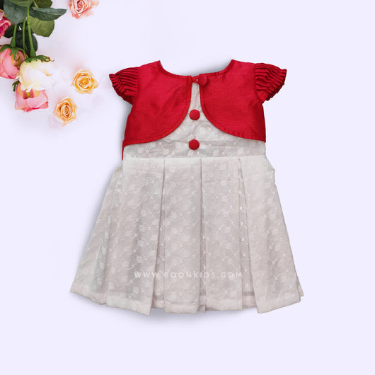 Red and White Shrug Attached Haqoba Frock