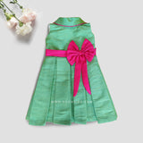 Hi Neck Green Silk Frock