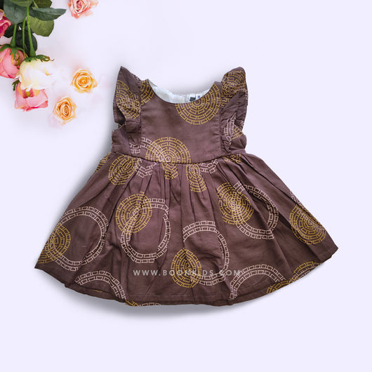 Premium Print Brown Cotton Frock