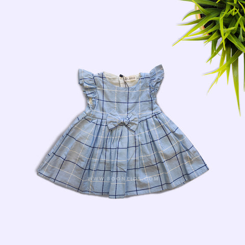 COTTON BUTTERFLY CHECK FROCK