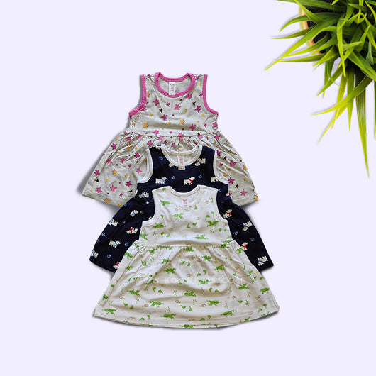 Baby Girls Cotton Floral Print Sleeveless Frock pack of 3