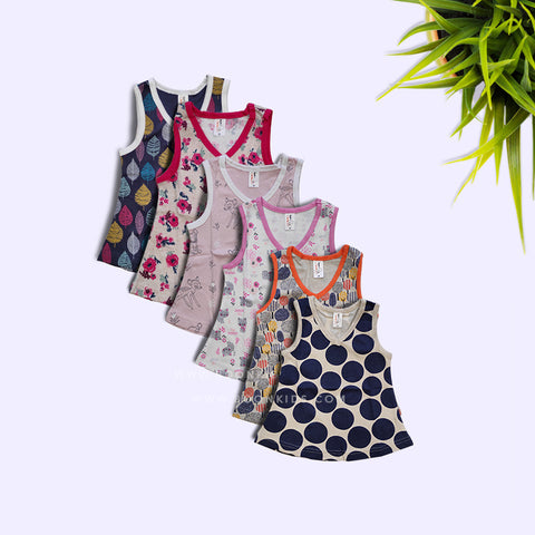 Newborn V-Neck Frock pack of 6