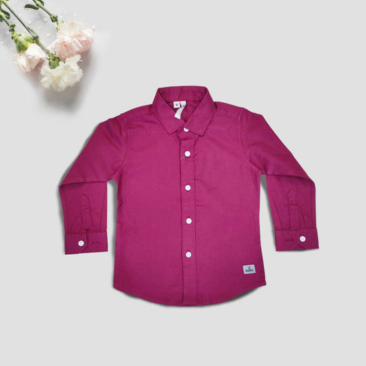 Boys Full Sleeves Magenta Cotton Shirt