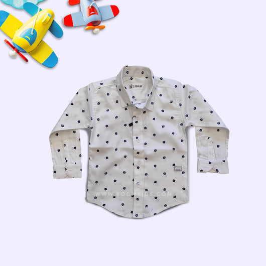 Boys Full Sleeves Print Cotton Shirt
