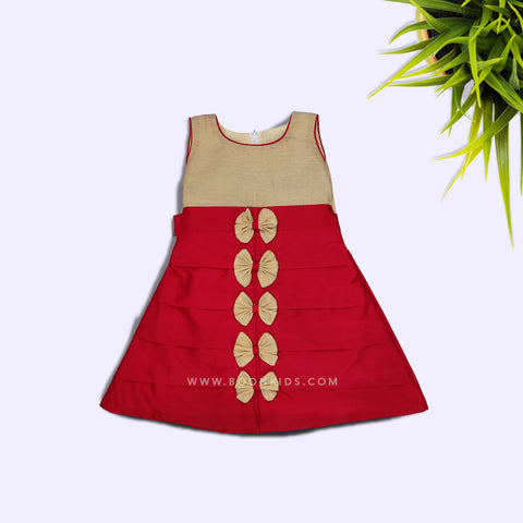 Red and Golden A Line Butterfly Frock