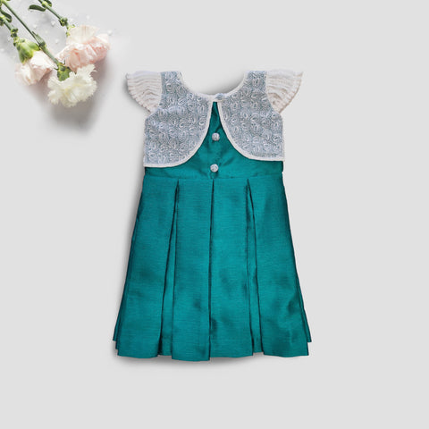 Green  and White Shrug Attached Silk Frock