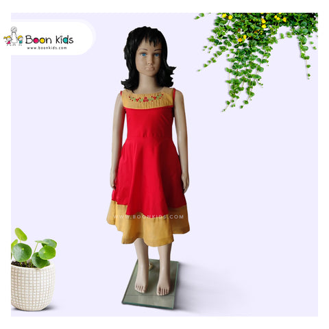 Red and Golden Embroidery Frock