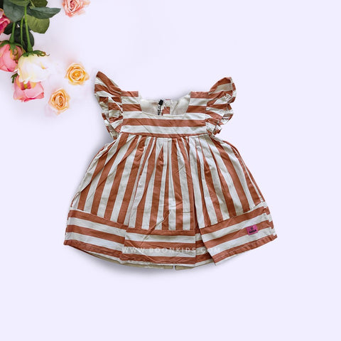 Cotton Frock  Brown Stripe