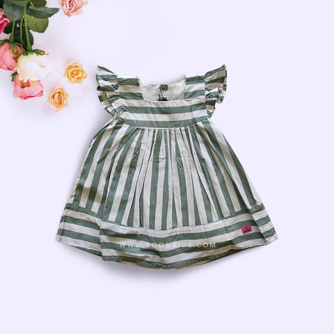 Cotton Frock Green Stripe