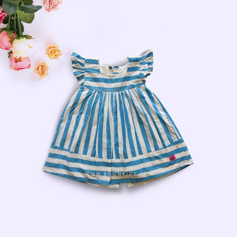 Cotton Frock Blue Stripe
