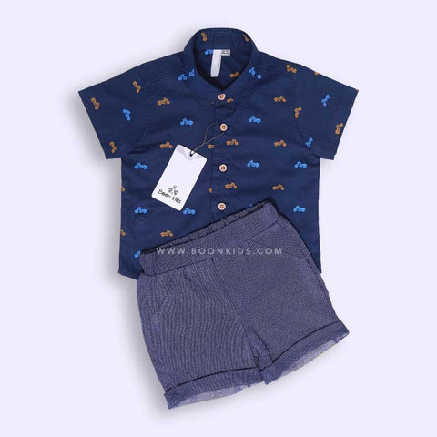 Boys Printed Shirt & Shorts Set