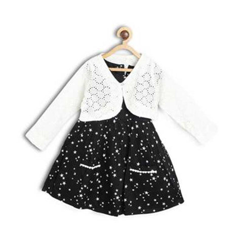 Black & White Printed Cotton Frock With Shrug