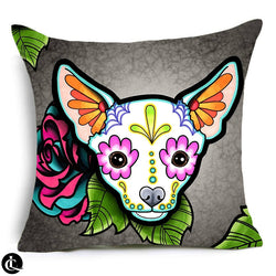 Floral Chihuahua Pillow Cover