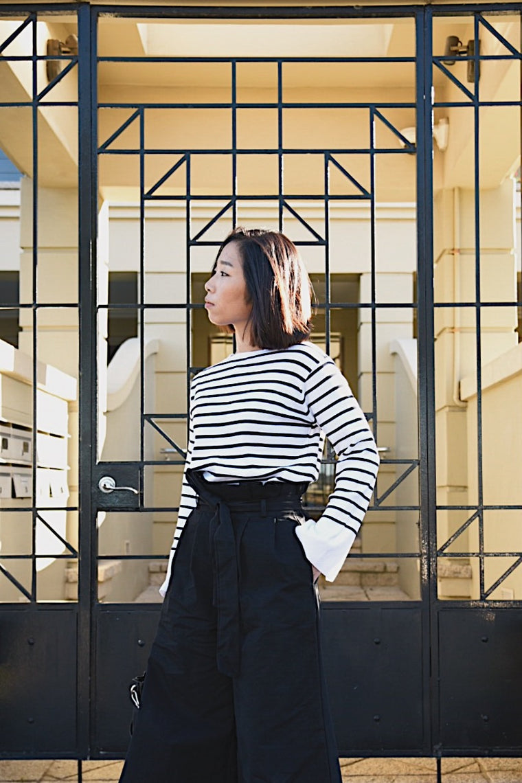 Striped Top with Split Sleeves