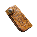 Natural Carved Leather Long Wallet