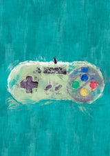 Super Nintendo Controller Poster. Snes Painting Print.