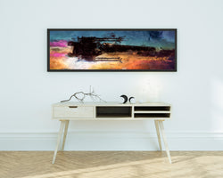 X Wing Poster. Panoramic Painting Print. Star Wars Painting