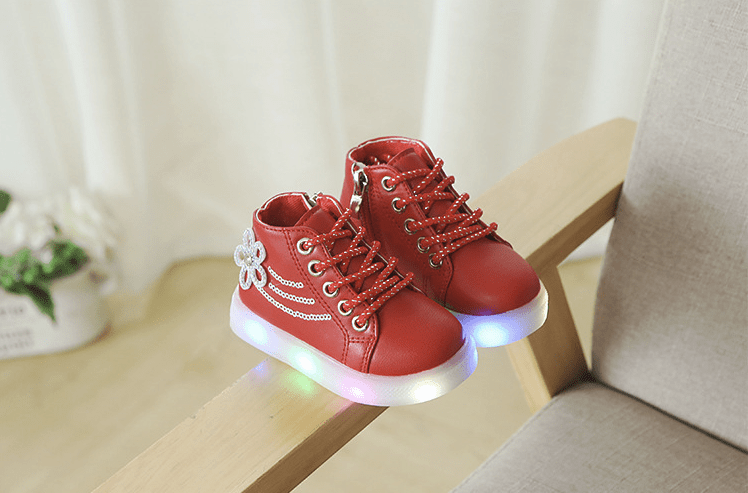 Kids LED Light Up Diamante Flower Boots ( 1-6 years) - Mini Chic Outlet