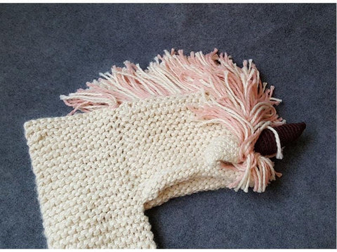 Image of Stunning Handmade Unicorn Hat Scarf And Gloves Combo (3 - 10 years) - Mini Chic Outlet