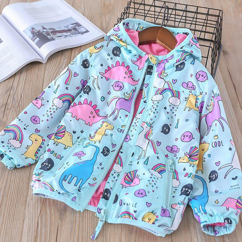 Beautiful Kids Unicorn Dinosaur Lined Hooded Coat (18m-8 Years) - Mini Chic Outlet