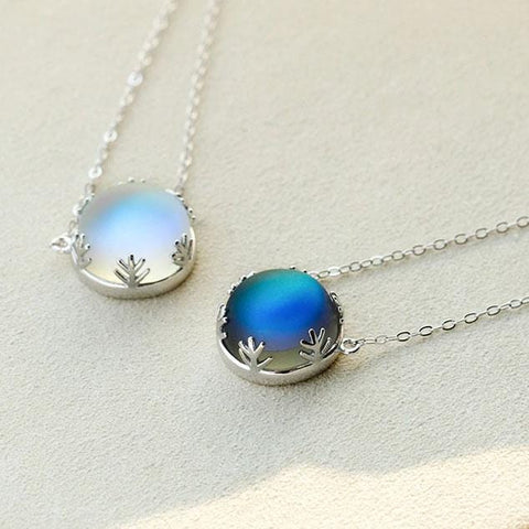 Aurora Borealis Silver Necklace - Elegant Northern Light Jewelry - Mini Chic Outlet