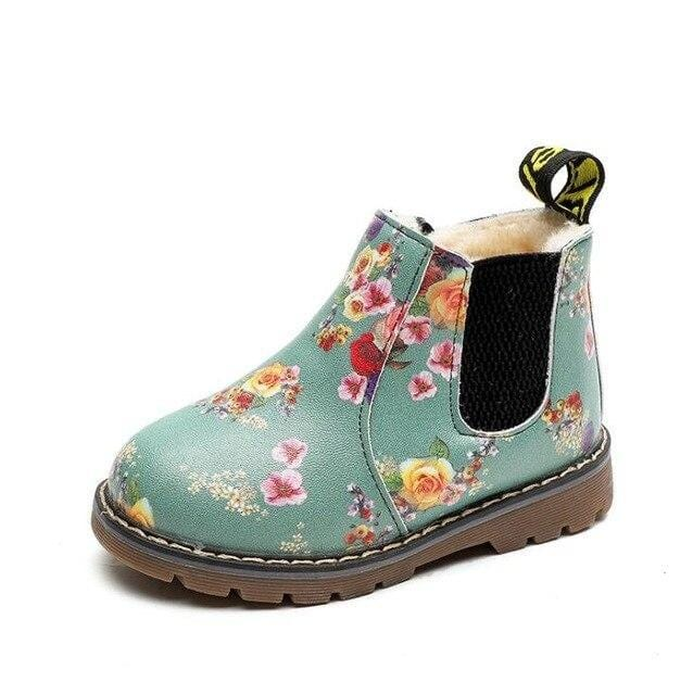 Dashing Floral Chelsea Style Boots For Girls  (toddler to big kids sizes)