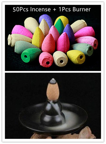 Natural Backflow Incense Cone 50Pcs - Mini Chic Outlet